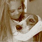 Girl with bassett hound small